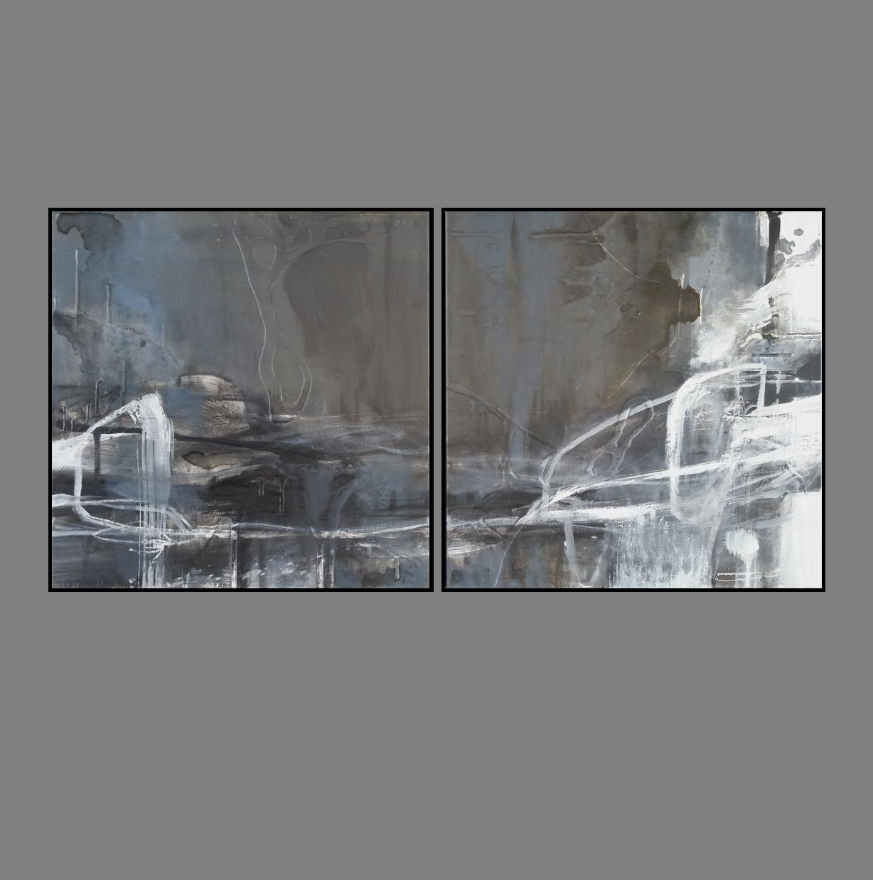 'Dawn Horizon 1. Print Series Diptych. black frame