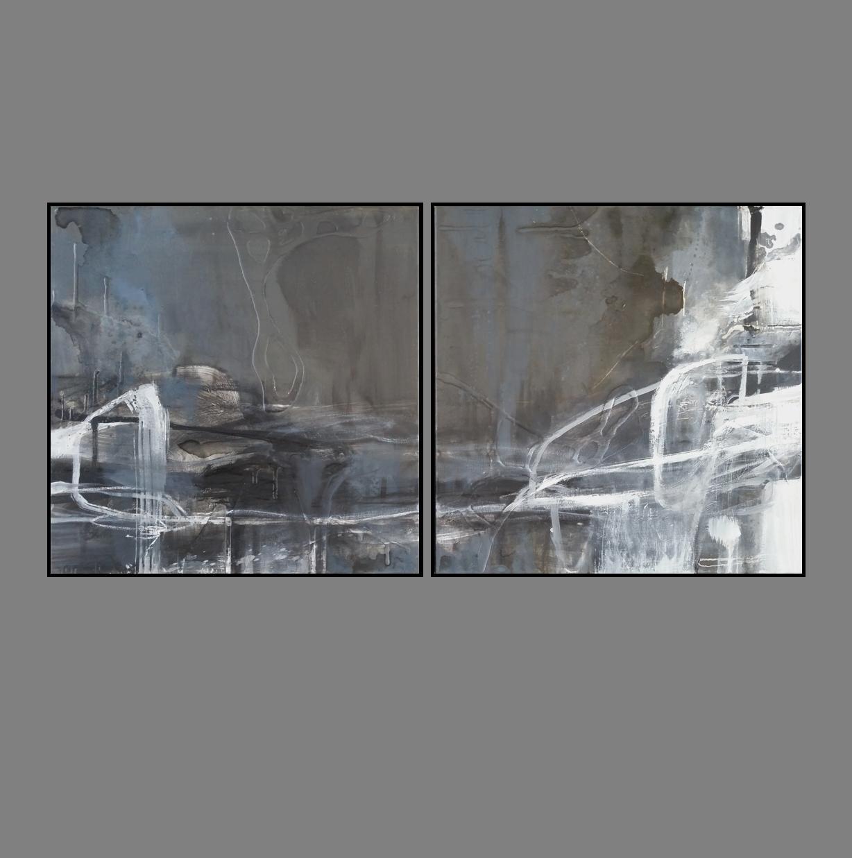 'Dawn Horizon 1. Print Series Diptych. black frame