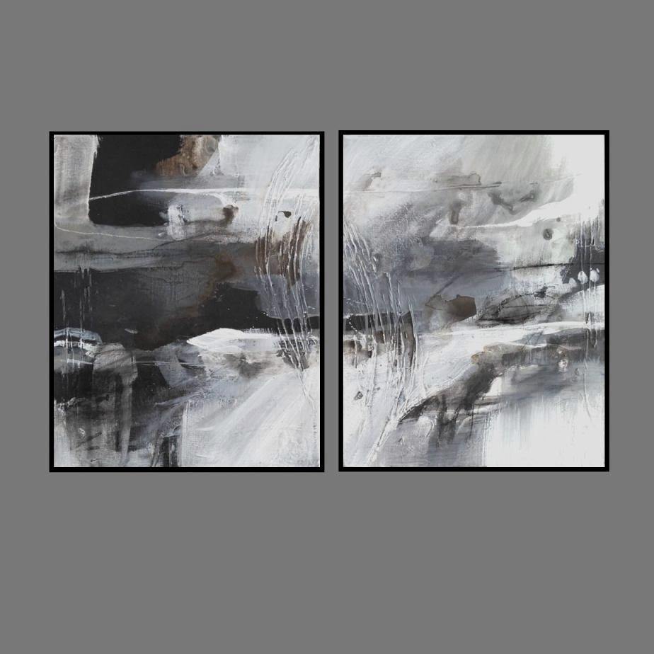 'River 1.' Print Series.. Diptych'. black frame