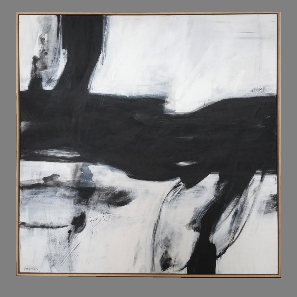 'Black Lines 9.' 120 x 120cm framed