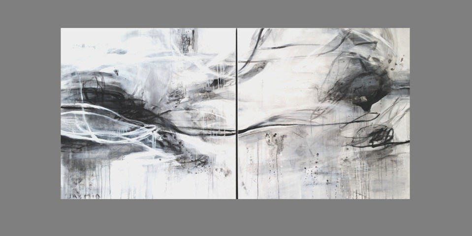 Black Lines 1 & 2 200 x 100cm diptych.