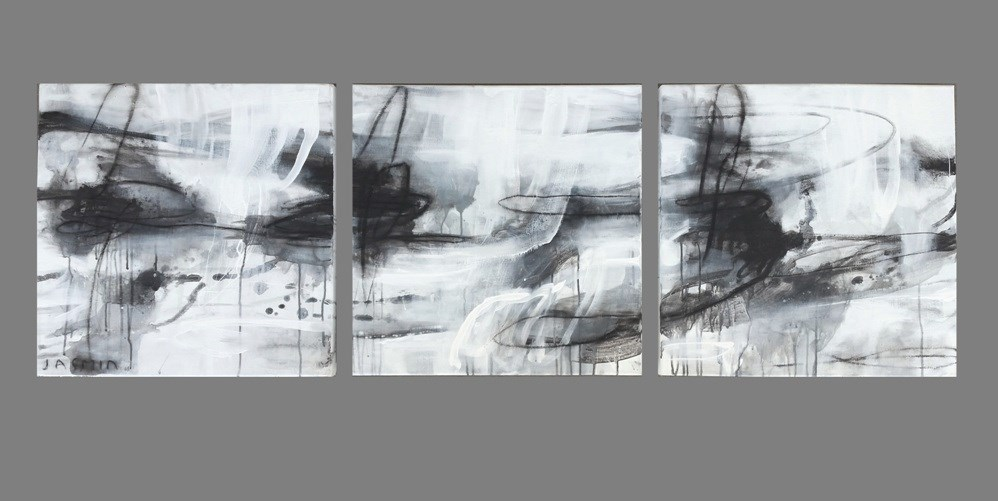 'Black Lines 4′ 50 x  50cm x 3 triptych
