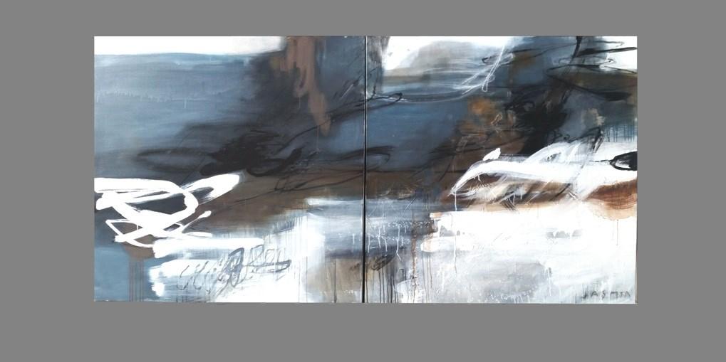 Indigo 1. 200 x 100cm diptych mixmedia on canvas