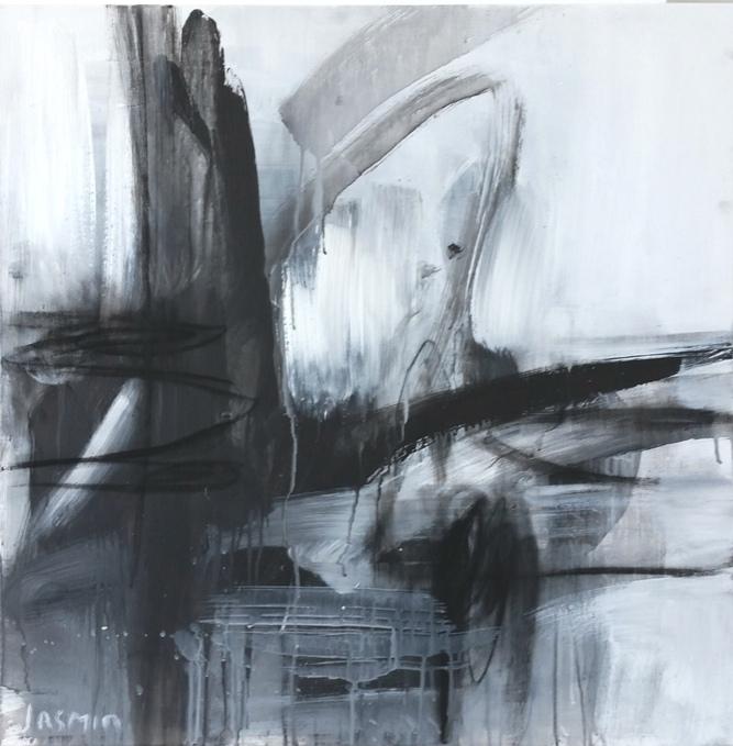 'Black Lines 5'. 75 x 75cm