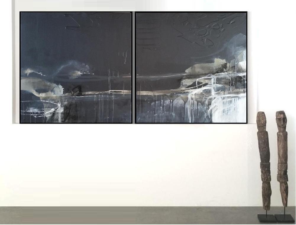 'Dusk Horizon 1. Print Series'. Diptych. Insitu