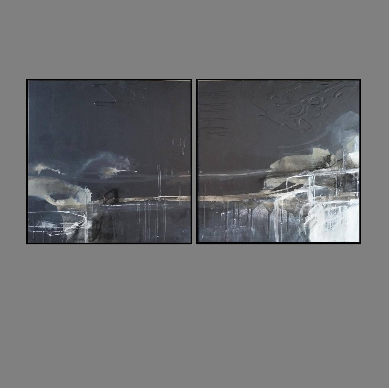 'Dusk Horizon 1. Print Series. Diptych'. black frame