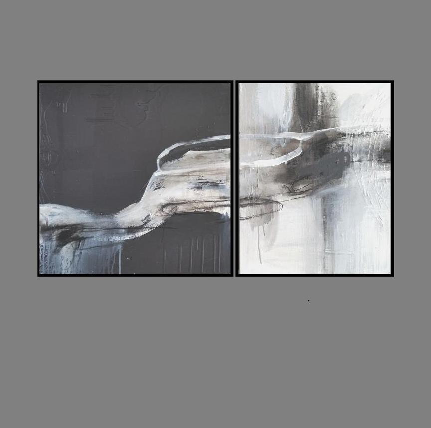 'Reflection 1. Print Series. Diptych'. black frame.