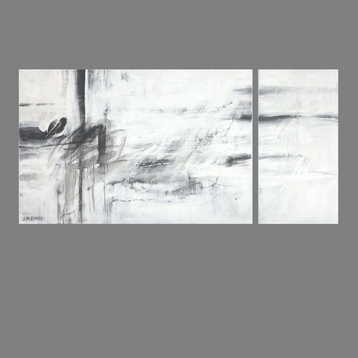 'Black Lines 7'.Diptych. 120 x 180cm, 120 x 60cm