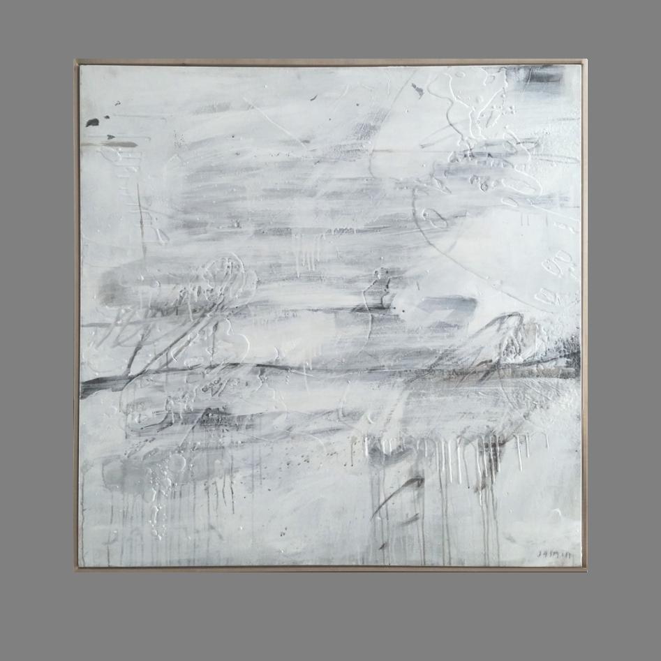 'White on White 1.' 120 x 120cm boxframe