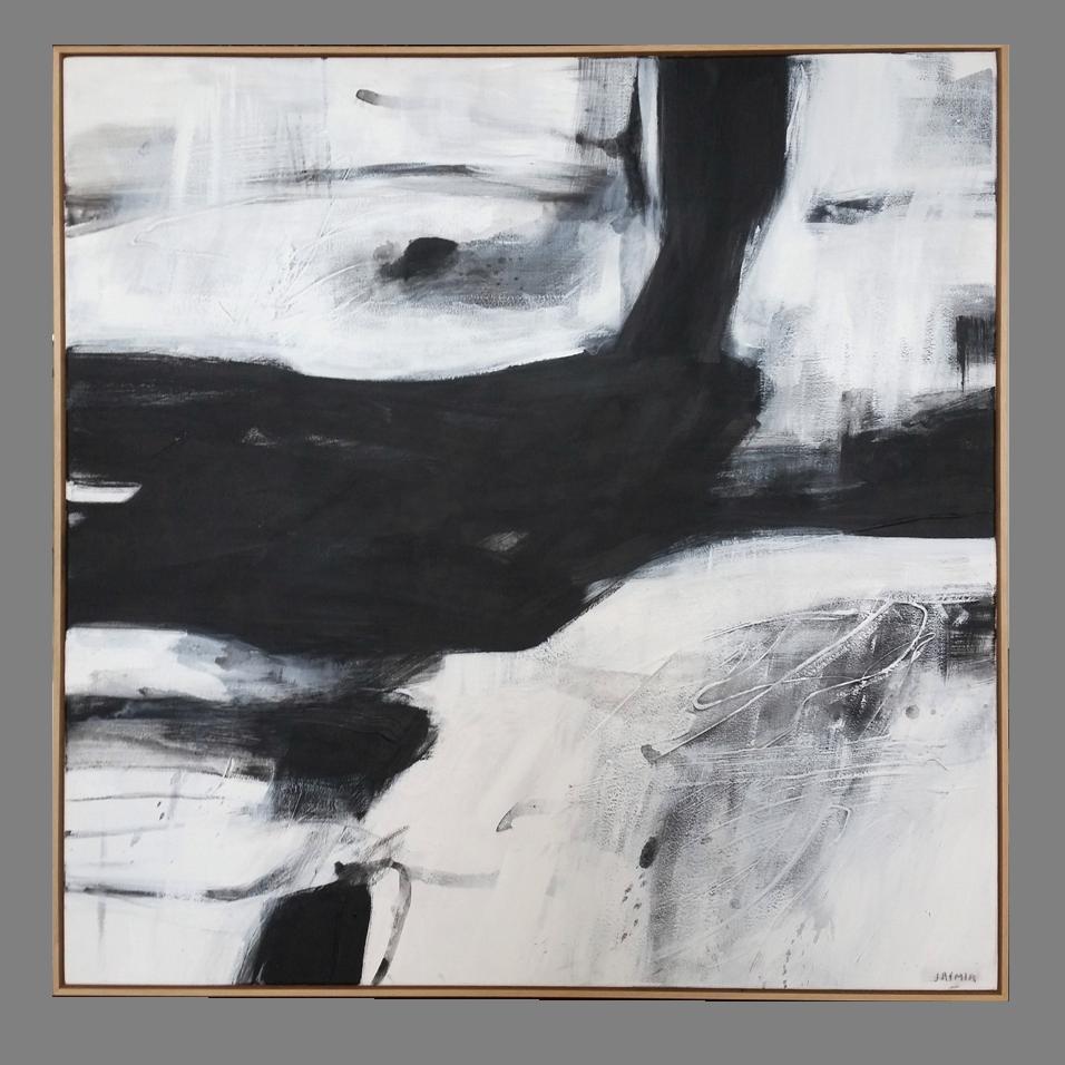 'Black Lines 10.' 120 x 120cm framed