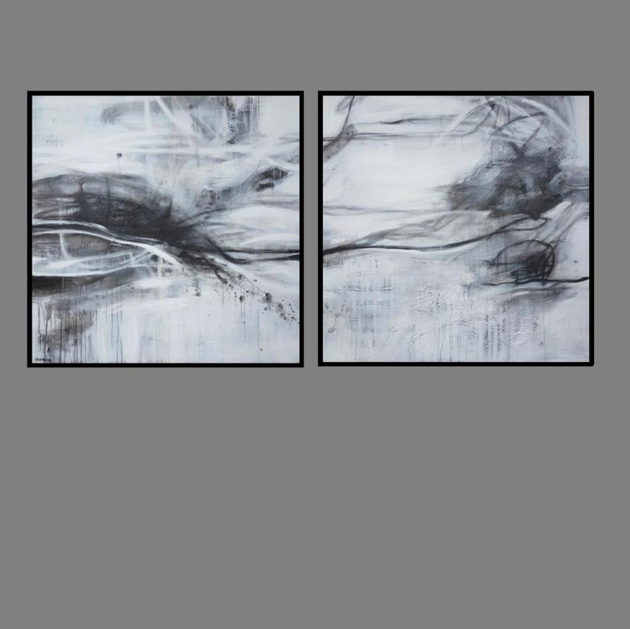 Black Lines 1. and 2. Diptych Print Series 90 x 90cm x 2