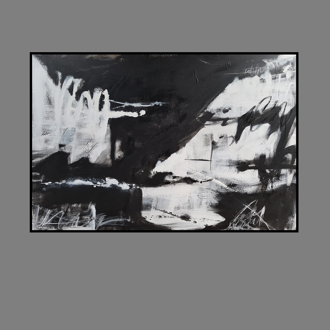 Black Lines 18. 120 x 180cm black frame